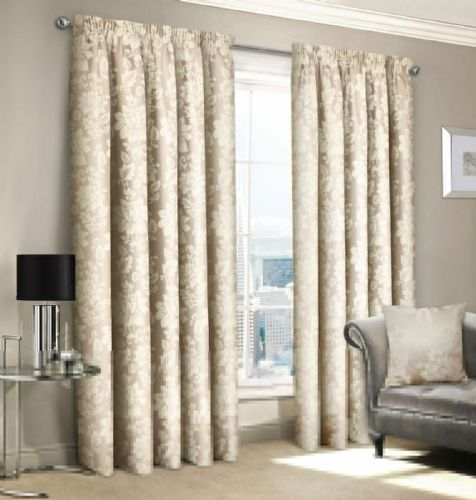 NATURAL JACQUARD FLORAL DAMASK DESIGN LINED PENCIL PLEAT STYLISH LUXURY STYLISH CURTAINS